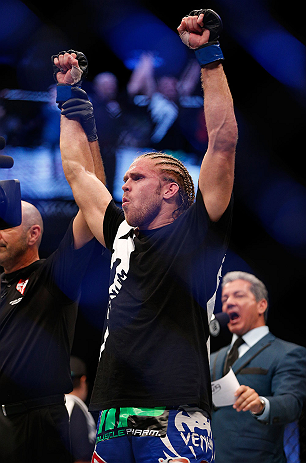 LAS VEGAS, NV - JULY 06:  Andrew Craig reacts to his victory over Chris Leben in their middleweight fight during the UFC 162 event inside the MGM Grand Garden Arena on July 6, 2013 in Las Vegas, Nevada.  (Photo by Josh Hedges/Zuffa LLC/Zuffa LLC via Getty Images) *** Local Caption *** Chris Leben; Andrew Craig