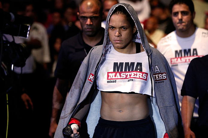 RIO DE JANEIRO, BRAZIL - AUGUST 03:  Amanda Nunes enters the arena before her women's bantamweight bout against Sheila Gaff during UFC 163 at HSBC Arena on August 3, 2013 in Rio de Janeiro, Brazil. (Photo by Josh Hedges/Zuffa LLC/Zuffa LLC via Getty Images)