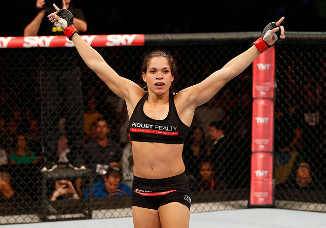 RIO DE JANEIRO, BRAZIL - AUGUST 03:  Amanda Nunes reacts after her TKO victory over Sheila Gaff in their women's bantamweight bout during UFC 163 at HSBC Arena on August 3, 2013 in Rio de Janeiro, Brazil. (Photo by Josh Hedges/Zuffa LLC/Zuffa LLC via Getty Images)