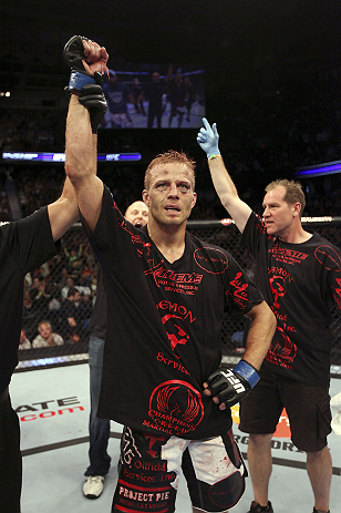 CALGARY, CANADA - JULY 21: Nick Ring celebrates after defeating Court McGee during their middleweight bout at UFC 149 inside the Scotiabank Saddledome on July 21, 2012 in Calgary, Alberta, Canada.  (Photo by Nick Laham/Zuffa LLC/Zuffa LLC via Getty Images)