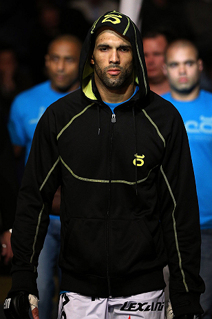 NOTTINGHAM, ENGLAND - SEPTEMBER 29:  Che Mills enters the arena before his welterweight fight against Duane Ludwig at the UFC on Fuel TV event at Capital FM Arena on September 29, 2012 in Nottingham, England.  (Photo by Josh Hedges/Zuffa LLC/Zuffa LLC via Getty Images)