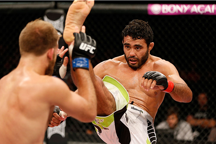 BELO HORIZONTE, BRAZIL - SEPTEMBER 04:  (R-L) Rafael Natal kicks Tor Troeng in their middleweight fight during the UFC on FOX Sports 1 event at Mineirinho Arena on September 4, 2013 in Belo Horizonte, Brazil. (Photo by Josh Hedges/Zuffa LLC/Zuffa LLC via Getty Images)