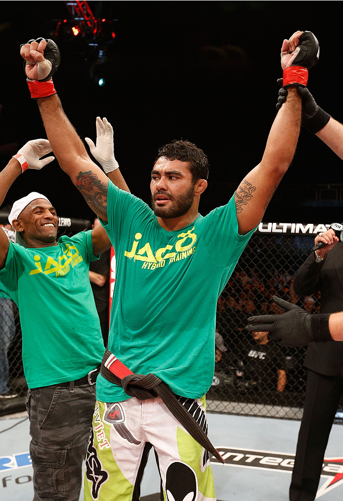 BELO HORIZONTE, BRAZIL - SEPTEMBER 04:  Rafael Natal reacts after his victory over Tor Troeng in their middleweight fight during the UFC on FOX Sports 1 event at Mineirinho Arena on September 4, 2013 in Belo Horizonte, Brazil. (Photo by Josh Hedges/Zuffa LLC/Zuffa LLC via Getty Images)