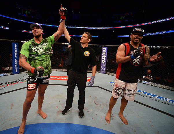 ANAHEIM, CA - FEBRUARY 23:  Brendan Schaub (left) reacts to his victory over Lavar Johnson (right) in their heavyweight bout during UFC 157 at Honda Center on February 23, 2013 in Anaheim, California.  (Photo by Donald Miralle/Zuffa LLC/Zuffa LLC via Getty Images) *** Local Caption *** Brendan Schaub; Lavar Johnson