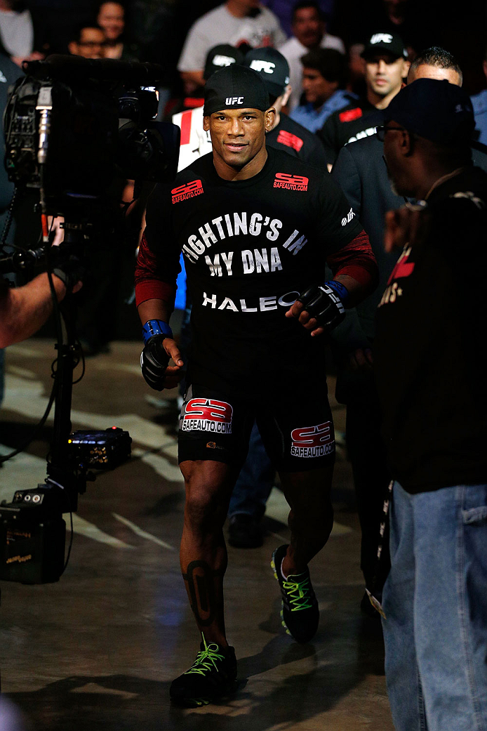 HOUSTON, TEXAS - OCTOBER 19:  Hector Lombard enters the arena before facing Nate Marquardt (not pictured) in their UFC welterweight bout at the Toyota Center on October 19, 2013 in Houston, Texas. (Photo by Josh Hedges/Zuffa LLC/Zuffa LLC via Getty Images)