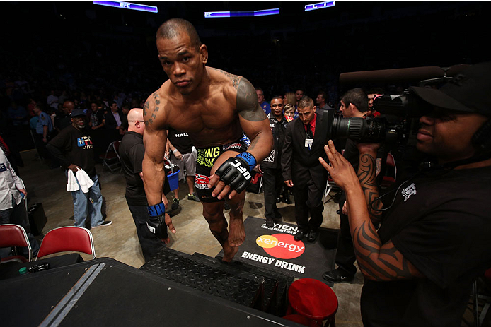 HOUSTON, TEXAS - OCTOBER 19:  Hector Lombard enters the Octagon before facing Nate Marquardt in their UFC welterweight bout at the Toyota Center on October 19, 2013 in Houston, Texas. (Photo by Nick Laham/Zuffa LLC/Zuffa LLC via Getty Images)