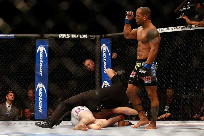 HOUSTON, TEXAS - OCTOBER 19:  (R-L) Hector Lombard defeats Nate Marquardt in their UFC welterweight bout at the Toyota Center on October 19, 2013 in Houston, Texas. (Photo by Josh Hedges/Zuffa LLC/Zuffa LLC via Getty Images)
