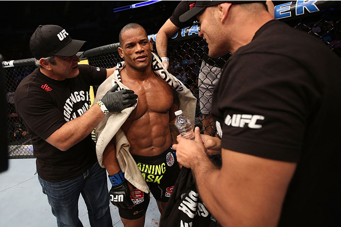 HOUSTON, TEXAS - OCTOBER 19:  Hector Lombard stands in his corner after defeating Nate Marquardt in their UFC welterweight bout at the Toyota Center on October 19, 2013 in Houston, Texas. (Photo by Nick Laham/Zuffa LLC/Zuffa LLC via Getty Images)