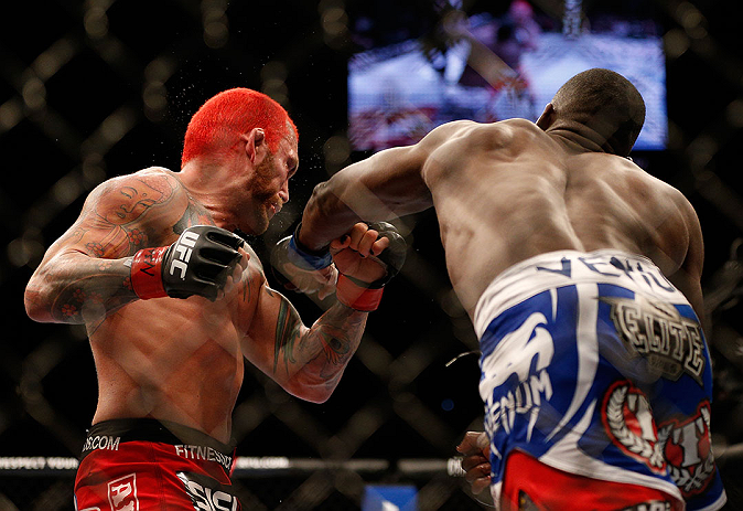 LAS VEGAS, NV - DECEMBER 29:  (R-L) Derek Brunson punches Chris Leben during their middleweight fight at UFC 155 on December 29, 2012 at MGM Grand Garden Arena in Las Vegas, Nevada. (Photo by Josh Hedges/Zuffa LLC/Zuffa LLC via Getty Images) *** Local Caption *** Chris Leben; Derek Brunson