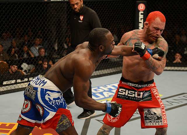 LAS VEGAS, NV - DECEMBER 29:  (L-R) Derek Brunson punches Chris Leben during their middleweight fight at UFC 155 on December 29, 2012 at MGM Grand Garden Arena in Las Vegas, Nevada. (Photo by Donald Miralle/Zuffa LLC/Zuffa LLC via Getty Images) *** Local Caption *** Chris Leben; Derek Brunson