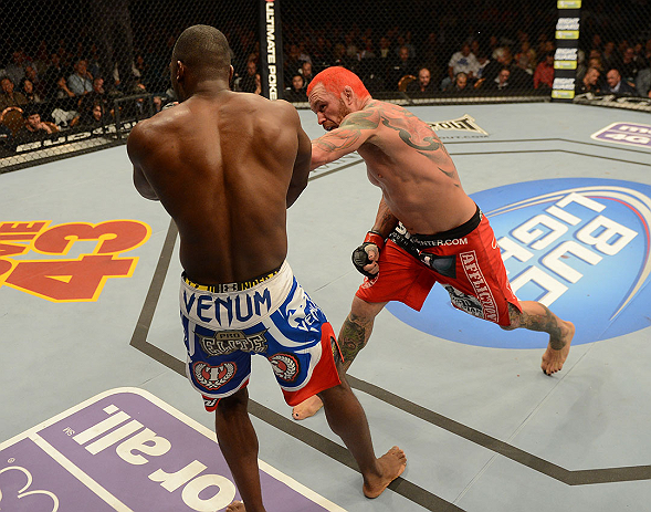 LAS VEGAS, NV - DECEMBER 29:  (R-L) Chris Leben punches Derek Brunson during their middleweight fight at UFC 155 on December 29, 2012 at MGM Grand Garden Arena in Las Vegas, Nevada. (Photo by Donald Miralle/Zuffa LLC/Zuffa LLC via Getty Images) *** Local Caption *** Chris Leben; Derek Brunson