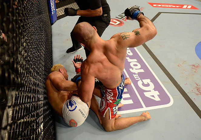 ANAHEIM, CA - FEBRUARY 23:  (R-L) Robbie Lawler punches Josh Koscheck in their welterweight bout during UFC 157 at Honda Center on February 23, 2013 in Anaheim, California.  (Photo by Donald Miralle/Zuffa LLC/Zuffa LLC via Getty Images) *** Local Caption *** Josh Koscheck; Robbie Lawler