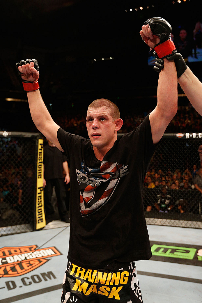 SACRAMENTO, CA - DECEMBER 14:  Joe Lauzon reacts to his victory over Mac Danzig in their lightweight bout during the UFC on FOX event at Sleep Train Arena on December 14, 2013 in Sacramento, California. (Photo by Josh Hedges/Zuffa LLC/Zuffa LLC via Getty Images) *** Local Caption *** Joe Lauzon