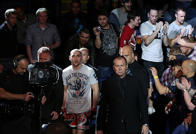 NOTTINGHAM, ENGLAND - SEPTEMBER 29:  Paul Sass enters the arena before his lightweight fight against Matt Wiman at the UFC on Fuel TV event at Capital FM Arena on September 29, 2012 in Nottingham, England.  (Photo by Josh Hedges/Zuffa LLC/Zuffa LLC via Getty Images)