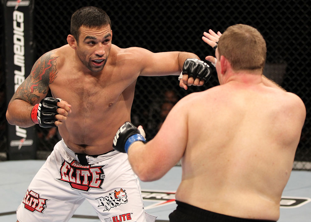 BELO HORIZONTE, BRAZIL - JUNE 23:   (L-R) Fabricio Werdum punches Mike Russow during their UFC 147 heavyweight bout at Estadio Jornalista Felipe Drummond on June 23, 2012 in Belo Horizonte, Brazil.  (Photo by Josh Hedges/Zuffa LLC/Zuffa LLC via Getty Images)