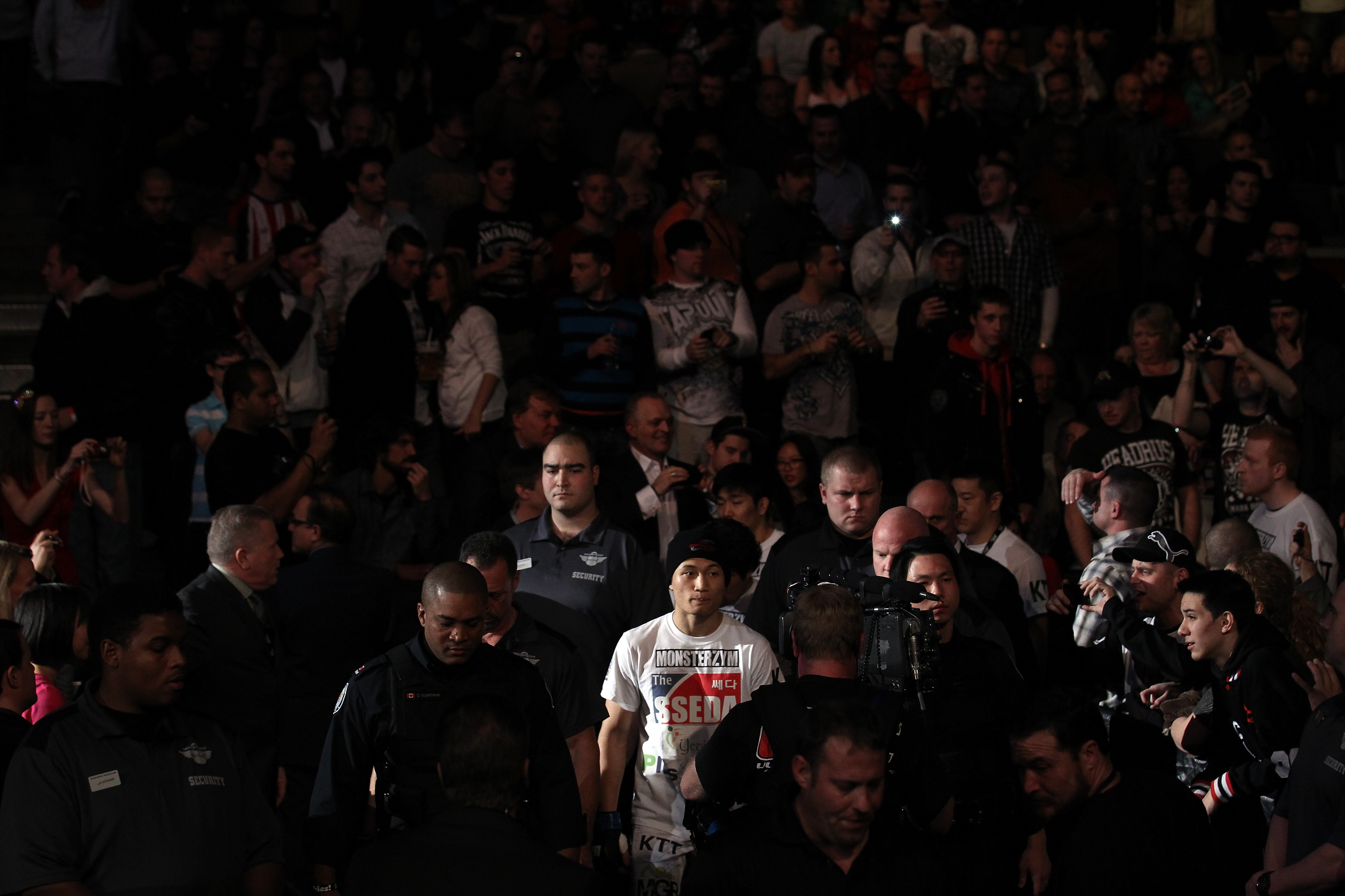 "TORONTO, ON - DECEMBER 10:  ""The Korean Zombie"" Chan Sung Jung enters the arena before his bout against Mark Hominick during the UFC 140 event at Air Canada Centre on December 10, 2011 in Toronto, Ontario, Canada.  (Photo by Nick Laham/Zuffa LLC/Zuffa LLC via Getty Images)"