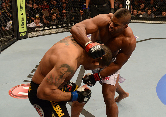 LAS VEGAS, NV - FEBRUARY 02:  (R-L) Alistair Overeem punches Antonio Silva during their heavyweight fight at UFC 156 on February 2, 2013 at the Mandalay Bay Events Center in Las Vegas, Nevada.  (Photo by Donald Miralle/Zuffa LLC/Zuffa LLC via Getty Images) *** Local Caption *** Alistair Overeem; Antonio Silva