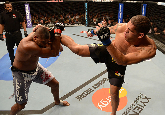 LAS VEGAS, NV - FEBRUARY 02:  (R-L) Antonio Silva kicks Alistair Overeem during their heavyweight fight at UFC 156 on February 2, 2013 at the Mandalay Bay Events Center in Las Vegas, Nevada.  (Photo by Donald Miralle/Zuffa LLC/Zuffa LLC via Getty Images) *** Local Caption *** Alistair Overeem; Antonio Silva