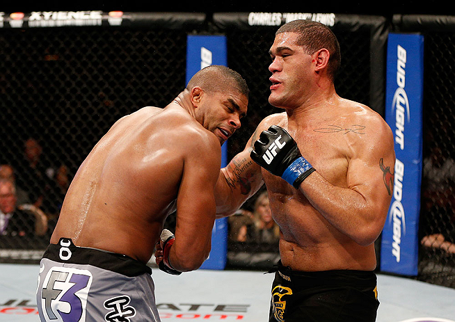 LAS VEGAS, NV - FEBRUARY 02:  (R-L) Antonio Silva punches Alistair Overeem during their heavyweight fight at UFC 156 on February 2, 2013 at the Mandalay Bay Events Center in Las Vegas, Nevada.  (Photo by Josh Hedges/Zuffa LLC/Zuffa LLC via Getty Images) *** Local Caption *** Alistair Overeem; Antonio Silva
