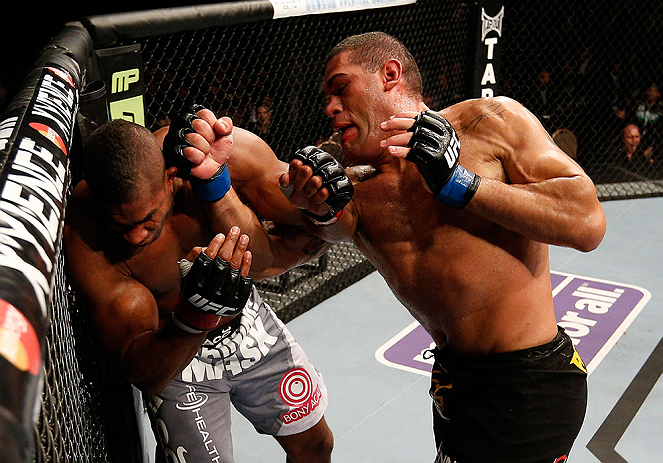 Antonio Silva punches Alistair Overeem during their heavyweight fight at UFC 156 (Photo by Josh Hedges/Zuffa LLC/Zuffa LLC via Getty Images)
