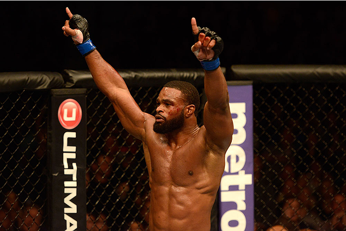 LAS VEGAS, NV - NOVEMBER 16:  Tyron Woodley reacts to his victory over Josh Koscheck in their welterweight bout during the UFC 167 event inside the MGM Grand Garden Arena on November 16, 2013 in Las Vegas, Nevada. (Photo by Donald Miralle/Zuffa LLC/Zuffa LLC via Getty Images) *** Local Caption *** Tyron Woodley