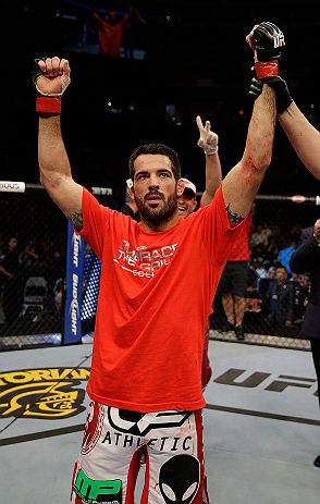 SAN JOSE, CA - APRIL 20:   Matt Brown reacts to being declared the winner in his fight against Jordan Mein in their welterweight bout during the UFC on FOX event at the HP Pavilion on April 20, 2013 in San Jose, California.  (Photo by Ezra Shaw/Zuffa LLC/Zuffa LLC via Getty Images)  *** Local Caption *** Matt Brown; Jordan Mein