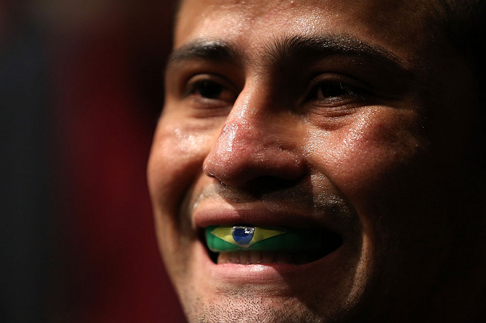 MINNEAPOLIS, MN - OCTOBER 05:  Jussier Formiga prepares to enter the Octagon before his flyweight fight against John Dodson at the UFC on FX event at Target Center on October 5, 2012 in Minneapolis, Minnesota.  (Photo by Josh Hedges/Zuffa LLC/Zuffa LLC via Getty Images)
