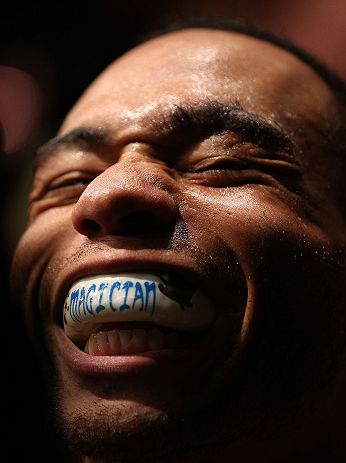 MINNEAPOLIS, MN - OCTOBER 05:  John Dodson prepares to enter the Octagon before his flyweight fight against Jussier Formiga at the UFC on FX event at Target Center on October 5, 2012 in Minneapolis, Minnesota.  (Photo by Josh Hedges/Zuffa LLC/Zuffa LLC via Getty Images)