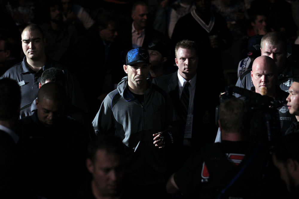 TORONTO, ON - DECEMBER 10:  Brian Ebersole enters the arena before his bout against Claude Patrick during the UFC 140 event at Air Canada Centre on December 10, 2011 in Toronto, Ontario, Canada.  (Photo by Nick Laham/Zuffa LLC/Zuffa LLC via Getty Images)