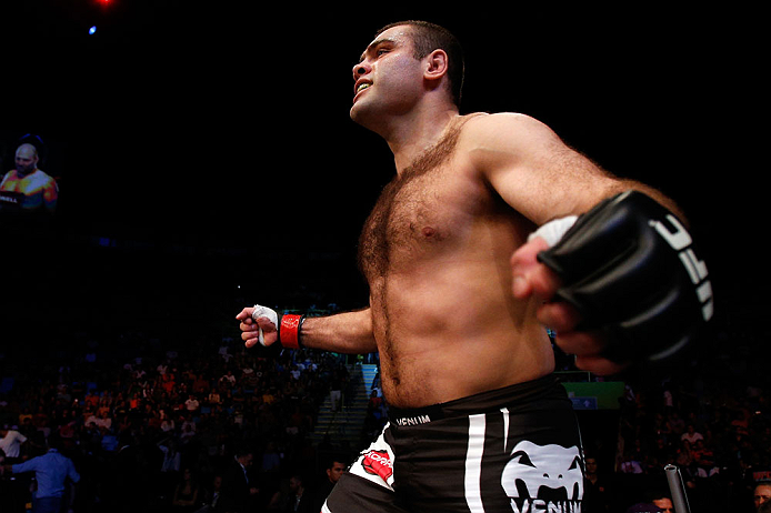 SAO PAULO, BRAZIL - JANUARY 19:  Gabriel Gonzaga prepares to enter the Octagon before his heavyweight fight against Ben Rothwell at the UFC on FX event on January 19, 2013 at Ibirapuera Gymnasium in Sao Paulo, Brazil. (Photo by Josh Hedges/Zuffa LLC/Zuffa LLC via Getty Images)