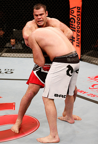 SAO PAULO, BRAZIL - JANUARY 19:  (L-R) Gabriel Gonzaga secures a guillotine choke submission against Ben Rothwell in their heavyweight fight at the UFC on FX event on January 19, 2013 at Ibirapuera Gymnasium in Sao Paulo, Brazil. (Photo by Josh Hedges/Zuffa LLC/Zuffa LLC via Getty Images)
