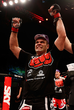 SAO PAULO, BRAZIL - JANUARY 19:  Gabriel Gonzaga reacts after defeating Ben Rothwell in their heavyweight fight at the UFC on FX event on January 19, 2013 at Ibirapuera Gymnasium in Sao Paulo, Brazil. (Photo by Josh Hedges/Zuffa LLC/Zuffa LLC via Getty Images)