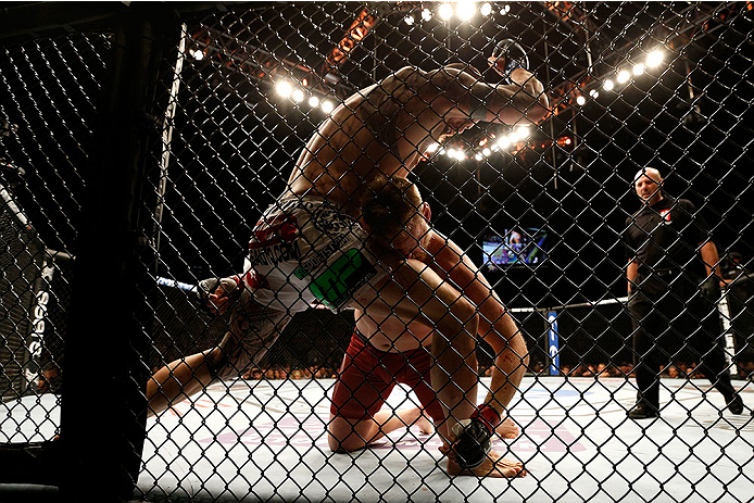 LAS VEGAS, NV - DECEMBER 28:  Travis Browne (top) elbows Josh Barnett in their heavyweight bout during the UFC 168 event at the MGM Grand Garden Arena on December 28, 2013 in Las Vegas, Nevada. (Photo by Josh Hedges/Zuffa LLC/Zuffa LLC via Getty Images) *** Local Caption *** Josh Barnett; Travis Browne