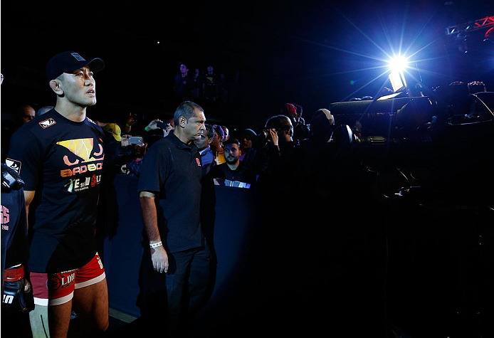 "BELO HORIZONTE, BRAZIL - SEPTEMBER 04:  Yushin Okami enters the arena before his middleweight fight against Ronaldo ""Jacare"" Souza during the UFC on FOX Sports 1 event at Mineirinho Arena on September 4, 2013 in Belo Horizonte, Brazil. (Photo by Josh Hedges/Zuffa LLC/Zuffa LLC via Getty Images)"