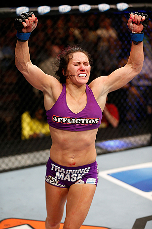 LAS VEGAS, NV - APRIL 13:   Cat Zingano reacts to her victory over Miesha Tate in their bantamweight fight at the Mandalay Bay Events Center  on April 13, 2013 in Las Vegas, Nevada.  (Photo by Josh Hedges/Zuffa LLC/Zuffa LLC via Getty Images)  *** Local Caption *** Miesha Tate; Cat Zingano