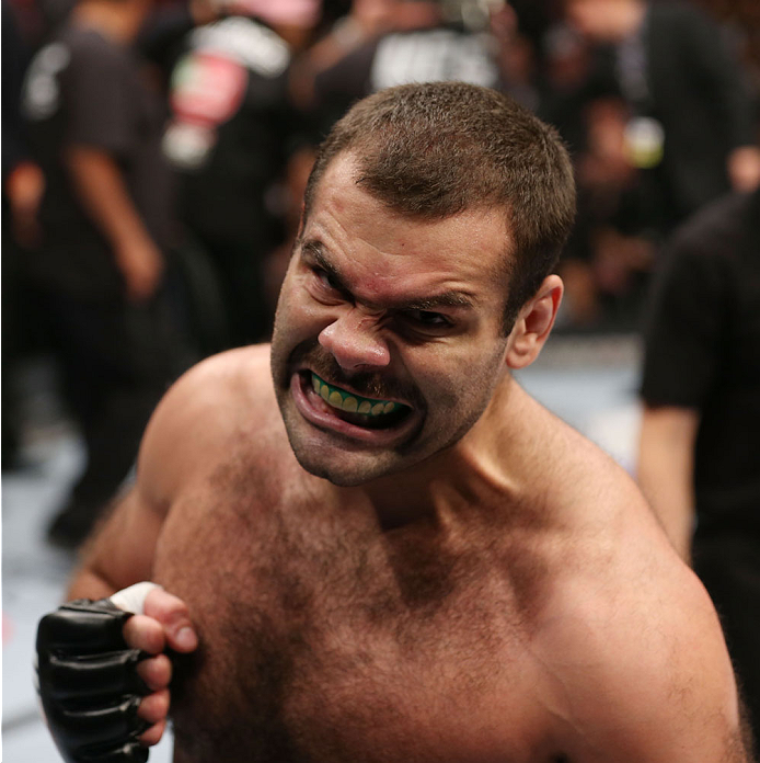 HOUSTON, TEXAS - OCTOBER 19:  Gabriel Gonzaga celebrates after defeating Shawn Jordan (not pictured) by TKO in their UFC heavyweight bout at the Toyota Center on October 19, 2013 in Houston, Texas. (Photo by Nick Laham/Zuffa LLC/Zuffa LLC via Getty Images)