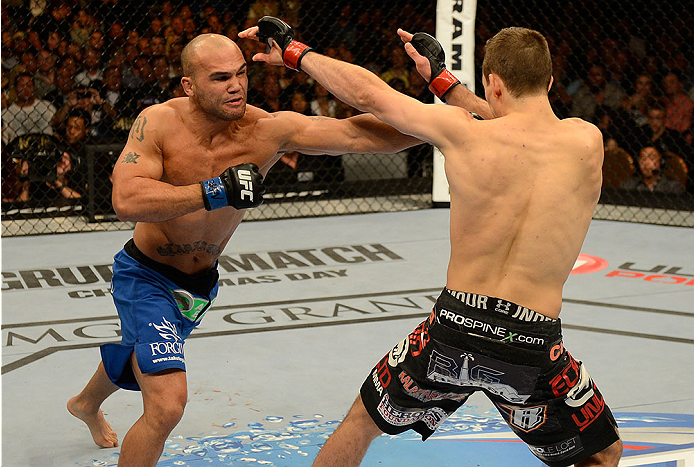 LAS VEGAS, NV - NOVEMBER 16:  (L-R) Robbie Lawler punches Rory MacDonald in their welterweight bout during the UFC 167 event inside the MGM Grand Garden Arena on November 16, 2013 in Las Vegas, Nevada. (Photo by Donald Miralle/Zuffa LLC/Zuffa LLC via Getty Images) *** Local Caption *** Rory MacDonald; Robbie Lawler