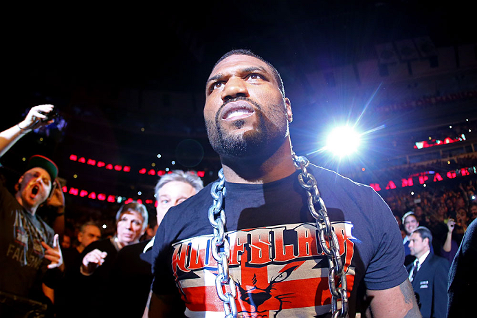 CHICAGO, IL - JANUARY 26:  Rampage Jackson walks to the octagon prior to his Light Heavyweight Bout against Glover Teixeira part of UFC on FOX at United Center on January 26, 2013 in Chicago, Illinois.  (Photo by Al Bello/Zuffa LLC/Zuffa LLC Via Getty Images)