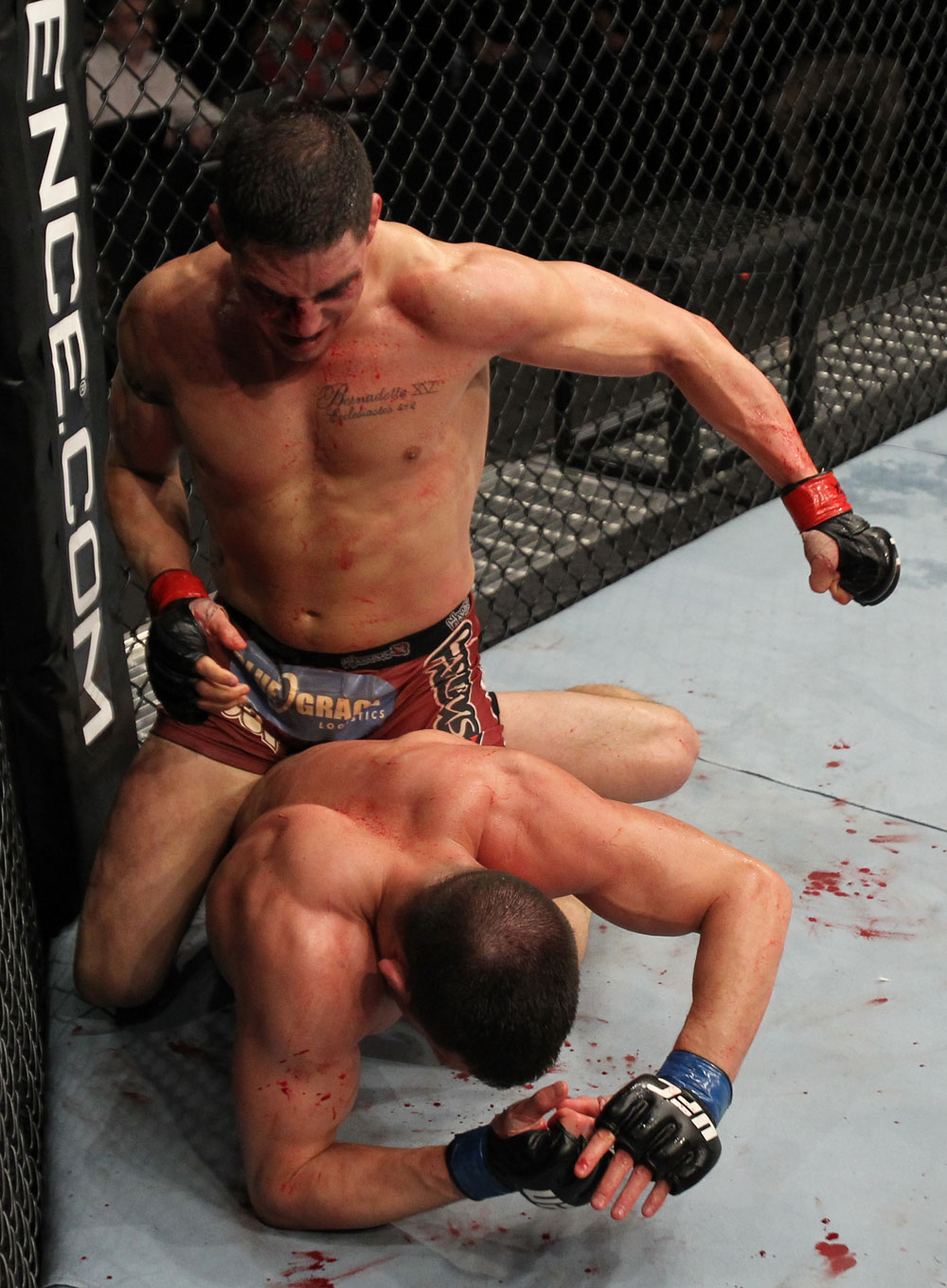 OMAHA, NE - FEBRUARY 15:  (L-R) Diego Sanchez punches Jake Ellenberger during the UFC on FUEL TV event at Omaha Civic Auditorium on February 15, 2012 in Omaha, Nebraska.  (Photo by Josh Hedges/Zuffa LLC/Zuffa LLC via Getty Images) *** Local Caption *** Jake Ellenberger; Diego Sanchez
