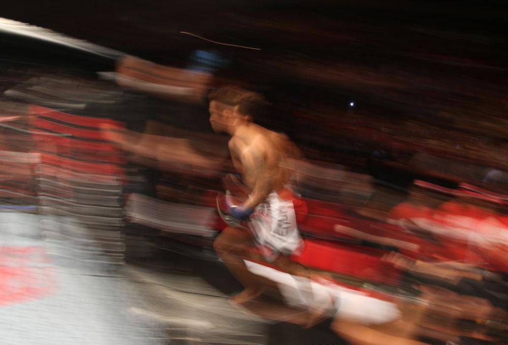 SYDNEY, AUSTRALIA - MARCH 03:  Yasuhiro Urushitani enters the Octagon before his bout against Joseph Benavidez during the UFC on FX event at Allphones Arena on March 3, 2012 in Sydney, Australia.  (Photo by Josh Hedges/Zuffa LLC/Zuffa LLC via Getty Images) *** Local Caption *** Yasuhiro Urushitani