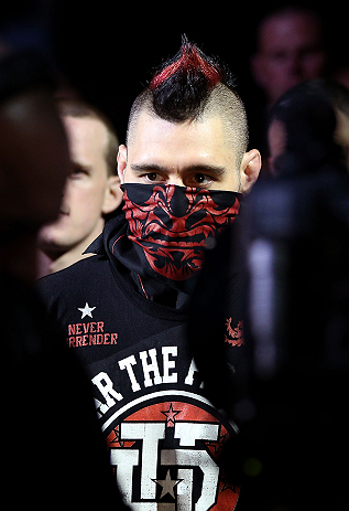 NOTTINGHAM, ENGLAND - SEPTEMBER 29:  Dan Hardy enters the arena before his welterweight fight against Amir Sadollah at the UFC on Fuel TV event at Capital FM Arena on September 29, 2012 in Nottingham, England.  (Photo by Josh Hedges/Zuffa LLC/Zuffa LLC via Getty Images)