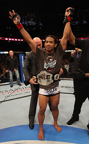 DENVER, CO - AUGUST 11:  Benson Henderson reacts after defeating Frankie Edgar at UFC 150 inside Pepsi Center on August 11, 2012 in Denver, Colorado. (Photo by Nick Laham/Zuffa LLC/Zuffa LLC via Getty Images)