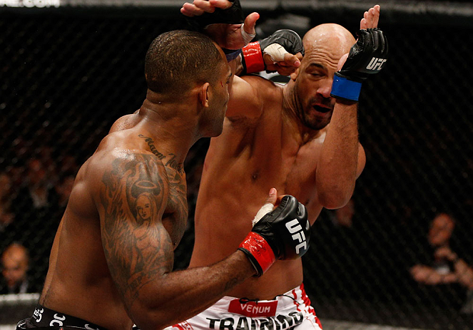 LONDON, ENGLAND - FEBRUARY 16:  (L-R) Jimi Manuwa punches Cyrille Diabate in their light heavyweight fight during the UFC on Fuel TV event on February 16, 2013 at Wembley Arena in London, England.  (Photo by Josh Hedges/Zuffa LLC/Zuffa LLC via Getty Images)