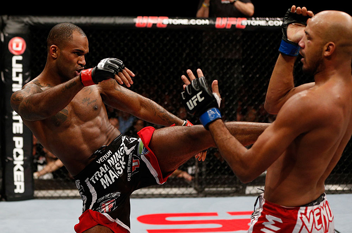 LONDON, ENGLAND - FEBRUARY 16:  (L-R) Jimi Manuwa kicks Cyrille Diabate in their light heavyweight fight during the UFC on Fuel TV event on February 16, 2013 at Wembley Arena in London, England.  (Photo by Josh Hedges/Zuffa LLC/Zuffa LLC via Getty Images)