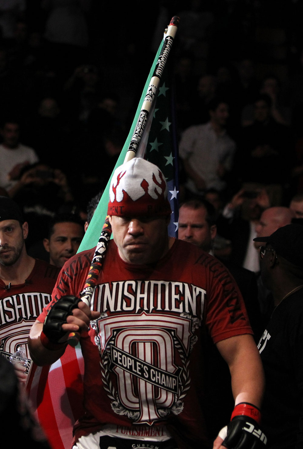 TORONTO, ON - DECEMBER 10:  Tito Ortiz enters the arena before his bout against Antonio Rogerio Nogueira during the UFC 140 event at Air Canada Centre on December 10, 2011 in Toronto, Ontario, Canada.  (Photo by Josh Hedges/Zuffa LLC/Zuffa LLC via Getty Images)