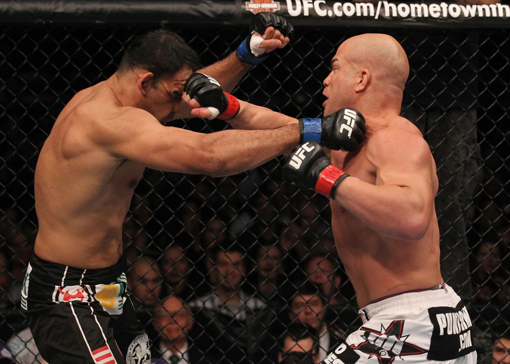 TORONTO, ON - DECEMBER 10:  (R-L) Tito Ortiz and Antonio Rogerio Nogueira trade punches during the UFC 140 event at Air Canada Centre on December 10, 2011 in Toronto, Ontario, Canada.  (Photo by Nick Laham/Zuffa LLC/Zuffa LLC via Getty Images)