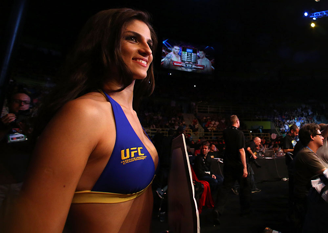 SAO PAULO, BRAZIL - JANUARY 19:  UFC Octagon Girl Aline Caroline Franzoi looks on during the UFC on FX event on January 19, 2013 at Ibirapuera Gymnasium in Sao Paulo, Brazil. (Photo by Josh Hedges/Zuffa LLC/Zuffa LLC via Getty Images)