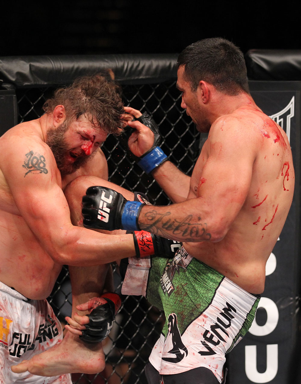 LAS VEGAS, NV - FEBRUARY 04:  Fabricio Werdum (left) knees Roy Nelson during the UFC 143 event at Mandalay Bay Events Center on February 4, 2012 in Las Vegas, Nevada.  (Photo by Nick Laham/Zuffa LLC/Zuffa LLC via Getty Images) *** Local Caption *** Fabricio Werdum; Roy Nelson