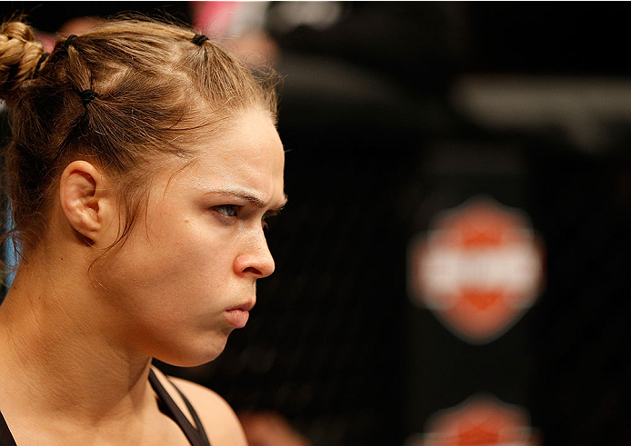LAS VEGAS, NV - DECEMBER 28:  Ronda Rousey prepares to face Miesha Tate in their UFC women's bantamweight championship bout during the UFC 168 event at the MGM Grand Garden Arena on December 28, 2013 in Las Vegas, Nevada. (Photo by Josh Hedges/Zuffa LLC/Zuffa LLC via Getty Images) *** Local Caption *** Ronda Rousey