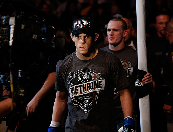 LAS VEGAS, NV - DECEMBER 29: Joe Lauzon walks to the Octagon before his lightweight fight at UFC 155 on December 29, 2012 at MGM Grand Garden Arena in Las Vegas, Nevada. (Photo by Josh Hedges/Zuffa LLC/Zuffa LLC via Getty Images) *** Local Caption *** Joe Lauzon; Jim Miller